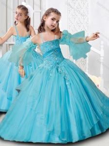 New Arrivals Puffy Skirt Straps Aqua Blue Mini Quinceanera Dress in Organza