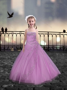 Spaghetti Straps Beaded Pink Mini Quinceanera Dresses in Tulle