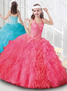 Elegant Halter Top Organza Mini Quinceanera Dress with Beading and Ruffles