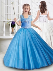 Gorgeous Really Puffy Tulle Beaded Mini Quinceanera Dress with Straps