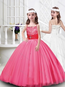 Lovely Tulle Straps Beaded Mini Quinceanera Dress with Lace Up