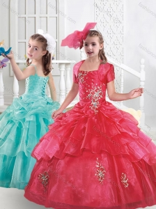 Popular Organza Applique and Beaded Mini Quinceanera Dress in Red