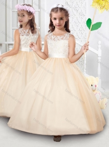 Popular Scoop Tulle Applique Mini Quinceanera Dress in Champagne