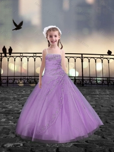 Spaghetti Straps Beaded Lilac Mini Quinceanera Dresses in Tulle