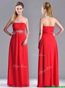 Beautiful Strapless Chiffon Red Dama Dress with Beading and Ruching