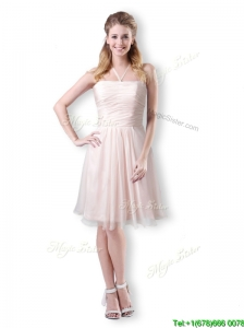 Cute Empire Chiffon Champagne Short Dama Dresses for Quinceanera with Halter Top