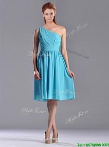 Discount Chiffon Aqua Blue Knee Length Dama Dress with One Shoulder