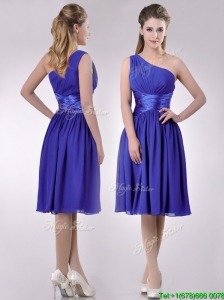 Elegant One Shoulder Chiffon Blue Dama Dresses for Quinceanera with Side Zipper