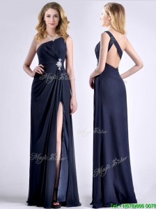 Exquisite One Shoulder Navy Blue Prom Dress with Beading and High Slit