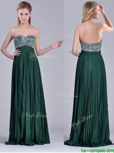 Popular Brush Train Beaded Bust and Pleated Prom Dress in Hunter Green
