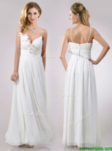 Popular Spaghetti Straps Applique and Ruched Dama Dresses for Quinceanera in White