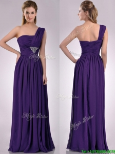 2016 Discount Empire Beaded and Ruched Dark Purple Dama Dress with One Shoulder