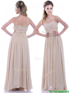 2016 Fashionable Empire Champagne Chiffon Dama Dress with Beading and Ruching