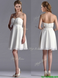 Beautiful Beaded Decorated Waist Chiffon Dama Dress in White
