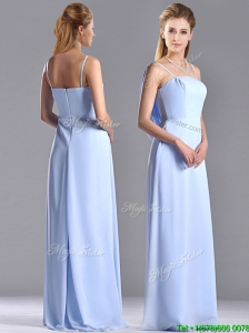 Cheap Chiffon Spaghetti Straps Long Dama Dress with Zipper Up