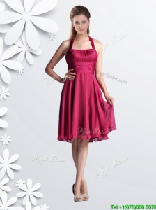 Cheap Halter Top Chiffon Coral Red Bridesmaid Dress with Ruching