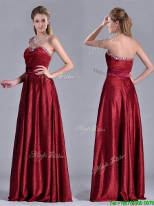 Classical Empire Sweetheart Wine Red Prom Dress with Beaded Top