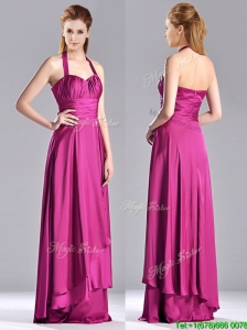 Classical Halter Top Fuchsia Long Bridesmaid Dress in Elastic Woven Satin