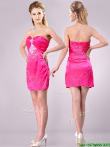 Discount Applique with Beading and Rhinestoned Dama Dresses for Quinceanera in Hot Pink