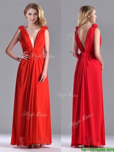 Elegant Deep V Neckline Red Bridesmaid Dress with Hand Crafted Flowers