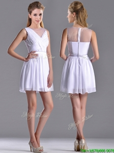 Fashionable See Through Scoop White Dama Dress with Ruching
