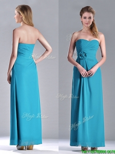 Hot Sale Ankle Length Hand Crafted Flower Bridesmaid Dress in Teal