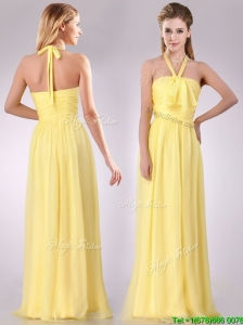 Lovely Halter Top Chiffon Ruched Long Bridesmaid Dress in Yellow