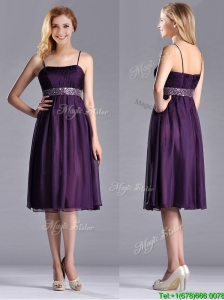 Modest Spaghetti Straps Beaded Chiffon Short Dama Dress for Quinceanera in Purple