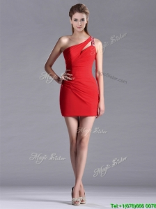New Arrivals Side Zipper One Shoulder Red Prom Dress with Beading