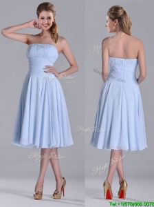 Pretty Strapless Chiffon Ruched Lavender Bridesmaid Dress in Tea Length