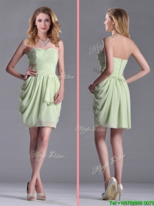 Simple Zipper Up Chiffon Yellow Green Dama Dresses for Quinceanera with Ruching