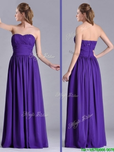 Beautiful Empire Ruched Chiffon Long Bridesmaid Dress in Purple