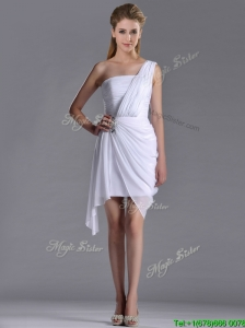 Cheap Column One Shoulder White Short Bridesmaid Dress with Zipper Up