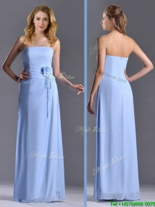Cheap Strapless Hand Crafted Flower Long Bridesmaid Dress in Light Blue