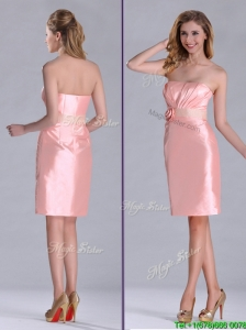 Cheap Strapless Hand Crafted Flower Peach Bridesmaid Dress in Satin