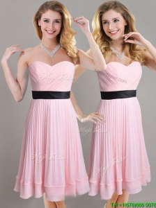 Discount Empire Pleated and Black Belted Bridesmaid Dress in Baby Pink