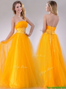Elegant A Line Beaded Tulle Gold Prom Dress with Lace Up