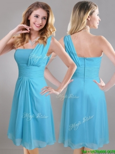 Elegant One Shoulder Ruched Chiffon Dama Dresses for Quinceanera in Aqua Blue