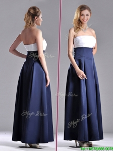 Elegant Strapless Ankle Length Bridesmaid Dress in Navy Blue and White