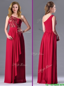 Fashionable Empire One Shoulder Sequins Red Prom Dress with Side Zipper