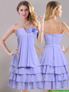 Hot Sale Ruffled Layers and Handcrafted Flower Bridesmaid Dress in Lavender