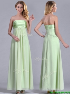 Latest Strapless Yellow Green Chiffon Bridesmaid Dress in Ankle Length
