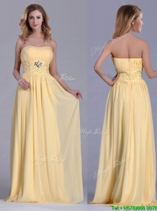Lovely Empire Yellow Long Bridesmaid Dress with Beading and Ruching