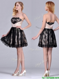 Modern Strapless Black Short Bridesmaid  Dress with Lace and Belt