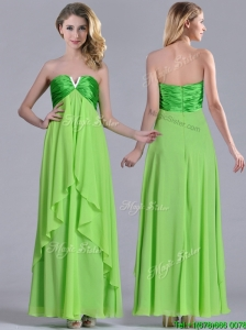 Pretty Beaded Decorated V Neck Spring Green Bridesmaid Dress in Ankle Length