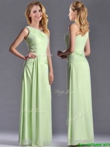 Pretty One Shoulder Side Zipper Yellow Green Dama Dresses for Quinceanera with Ruching