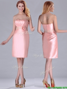Short Strapless Knee Length Pink Bridesmaid Dress with Hand Crafted and Beading