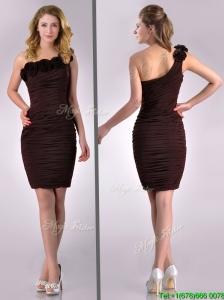 Simple Column One Shoulder Hand Crafted and Ruched Side Zipper Short Bridesmaid Dress in Brown