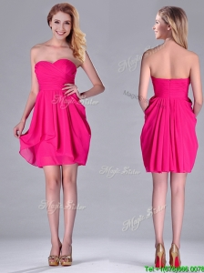 Simple Empire Sweetheart Chiffon Hot Pink Short Bridesmaid Dress for Homecoming