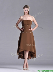 Exclusive Beaded Strapless High Low Brown Mother of the Bride Dress in Chiffon